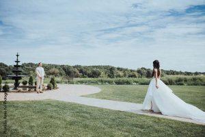 Bride and groom first look at elegant Minnesota wedding venue