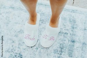 Pink and white bride-to-be slipeprs