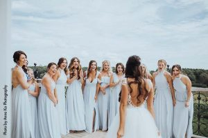 Bride shares first look with her bridesmaids