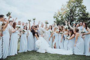 Bridesmaids dusty blue dresses