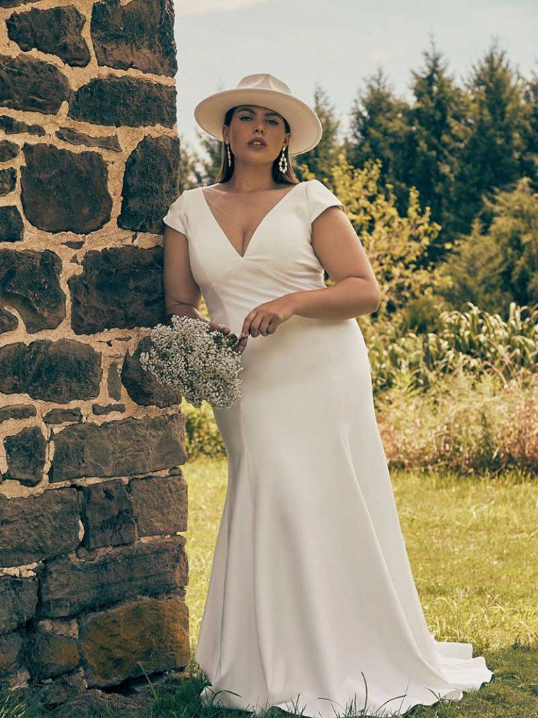 Cap sleeved BHLDN Plus Size Gown by Jenny Yoo
