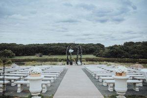 Ceremony setup at outdoor Minnesota wedding at Bavaria Downs