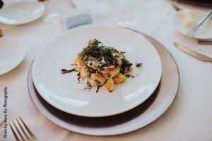 Chicken gnocchi wedding reception entree by D'amico Catering