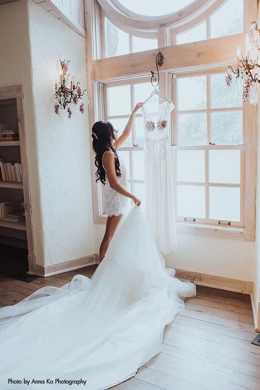 Applique bridal gown by Berta