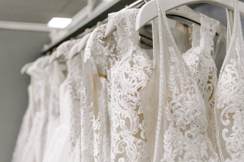 Couture bridal gown rack at Minnesota bridal salon