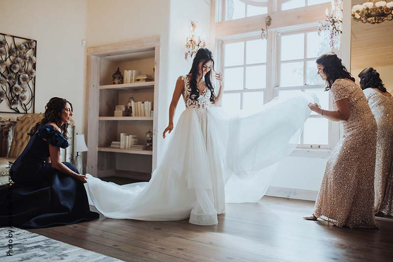 Detachable cathedral wedding train by Berta