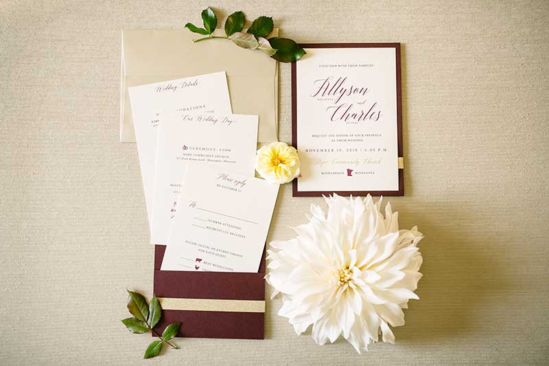 Fall color combos wedding paper suite by A Milestone Paper