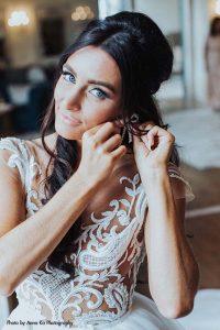 Applique wedding gown by Berta