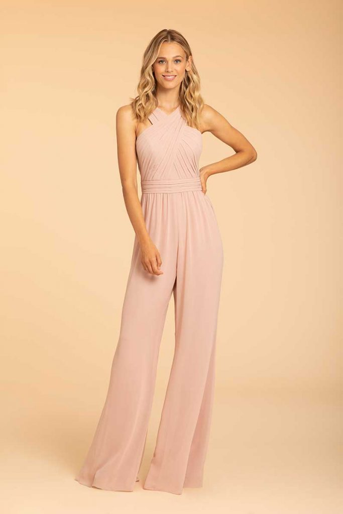 Blush bridesmaid jumpsuit for fall color combos