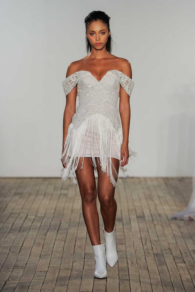 Unusual bridal fashion fringe mini dress by Hayley Paige