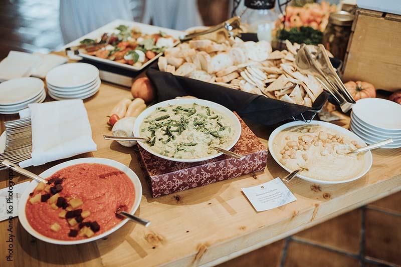 Hummus bar at elegant Minnesota wedding