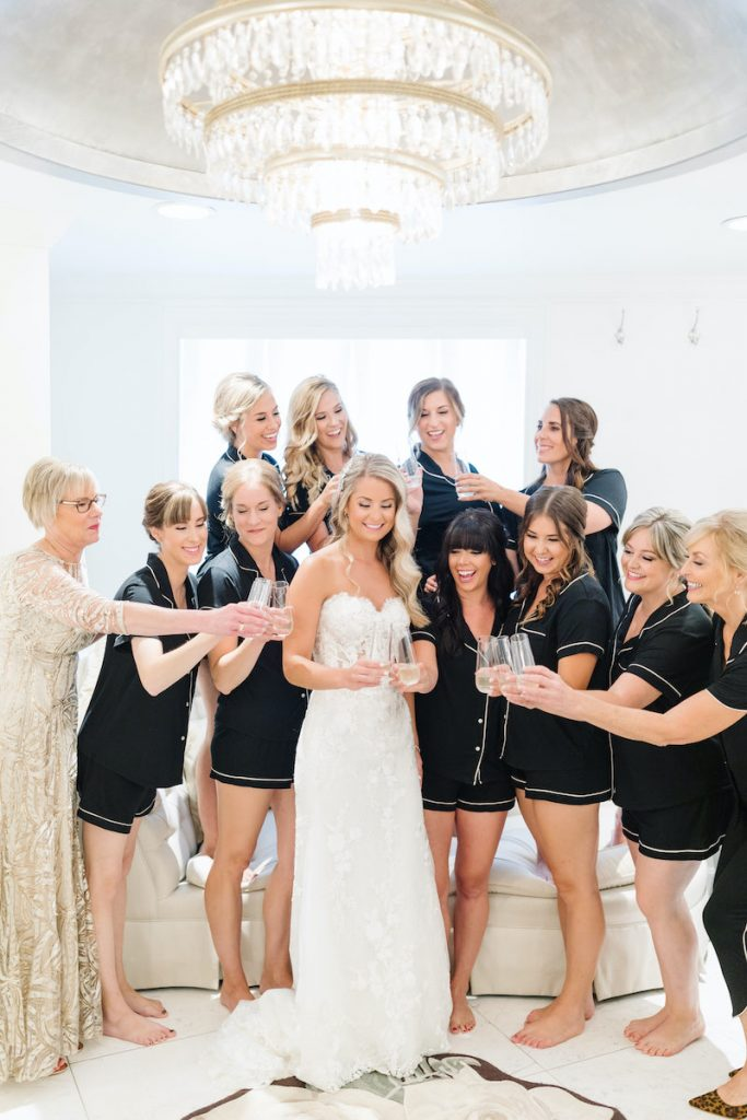 Bride with wedding party in The Saint Paul Hotel bridal suite