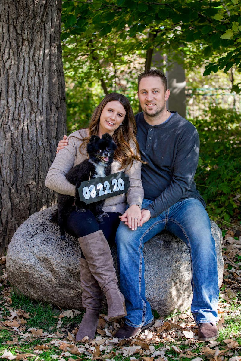 Minnesota couple engagement photo with dog