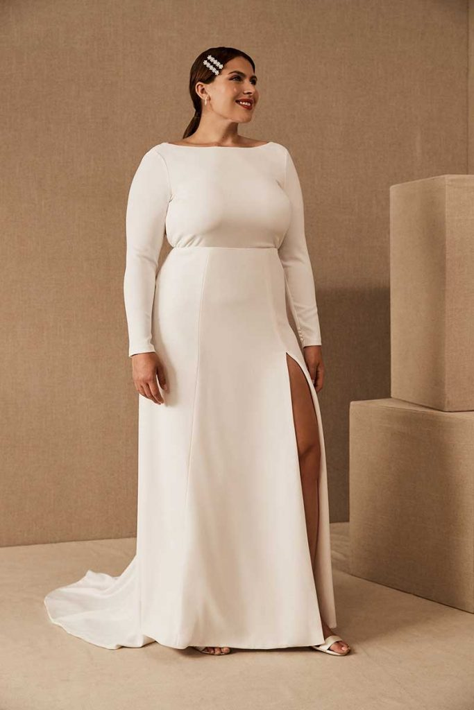 High neck long sleeve Amy Kuschel Redding Gown for BHLDN Plus Size Line