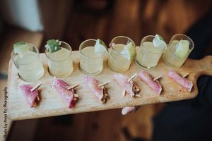 Mini margarita and taco flights at elegant Minnesota wedding by D'amico Catering