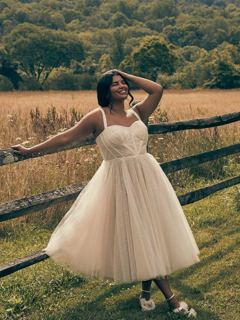 Midi vintage wedding gown by Watters Lynette Gown