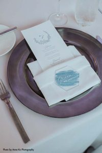 Purple charger with custom acrylic place setting