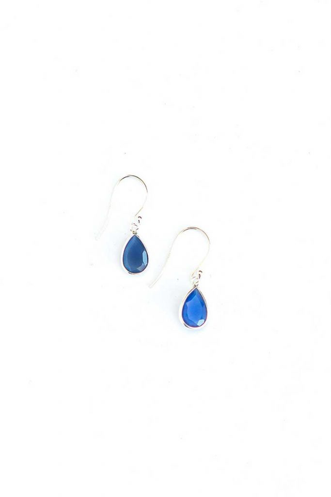 Blue raindrop earrings ethical jewelry by Fair Anita