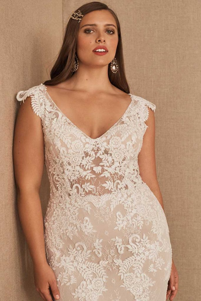 Soft lace ivory Whispers & Echoes Milano Gown for BHLDN