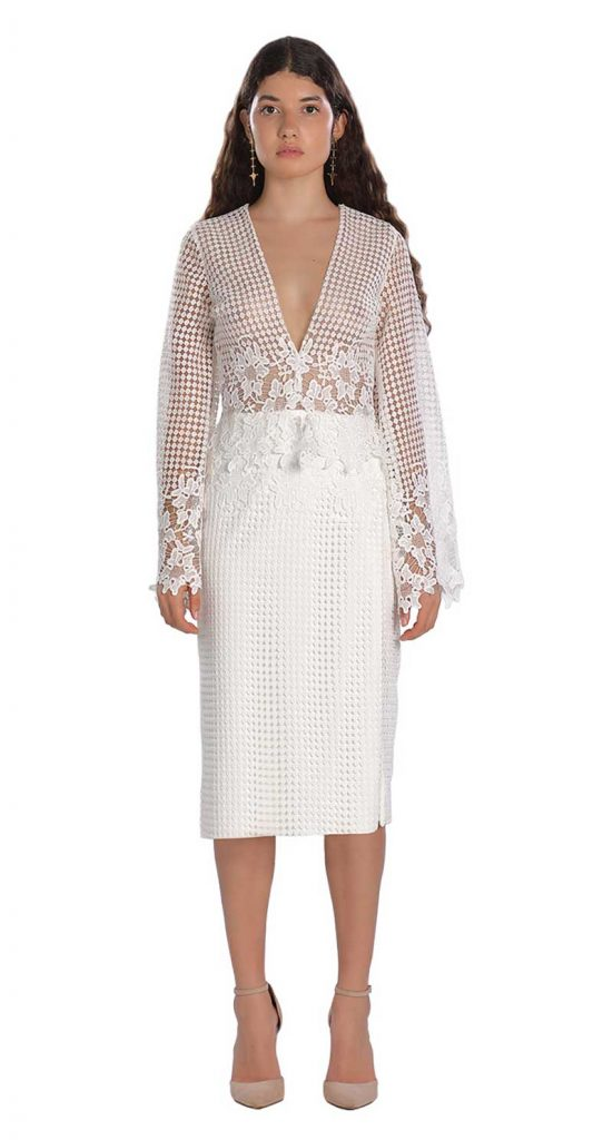 Lace and rose embellished white dress for rehearsal dinner