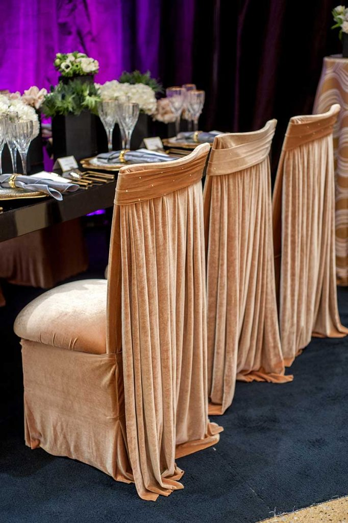 Velvet gold seat covers at Twin Cities Bridal Show Inspiration Station