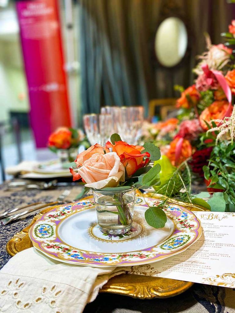 Vintage tabletop with orange and peach floral