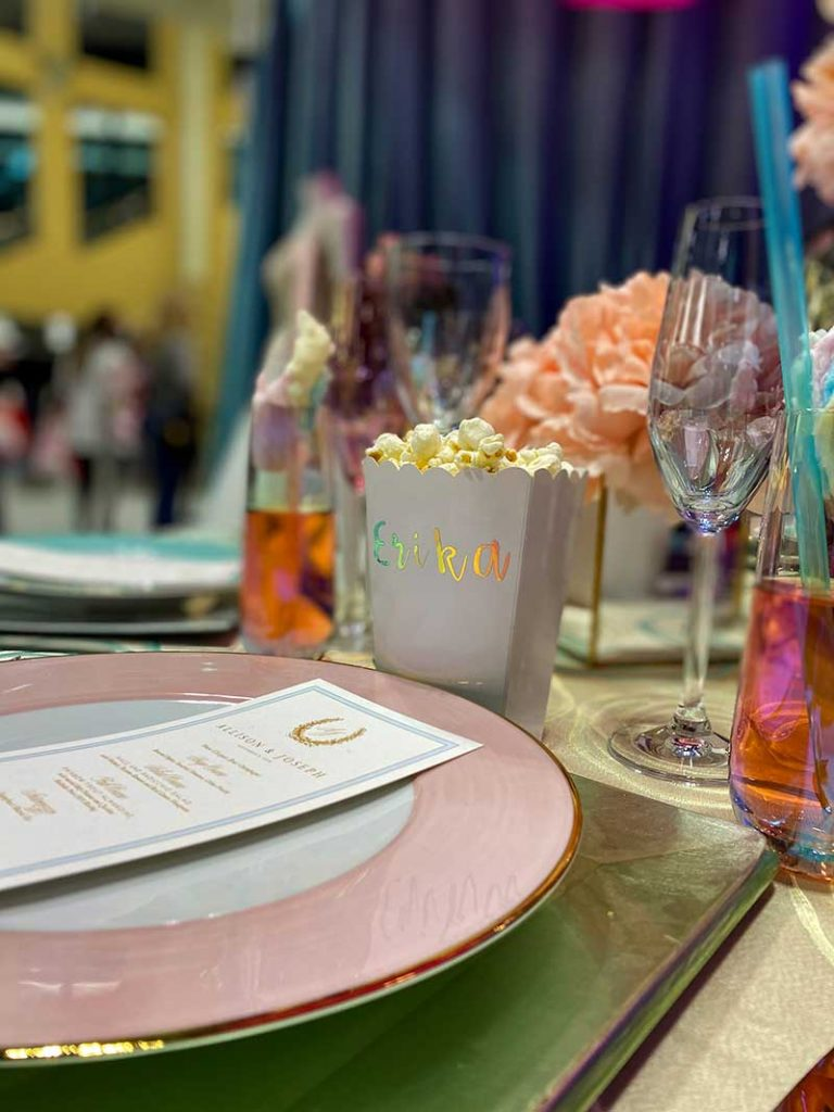State Fair themed wedding tabletop with custom popcorn place settings