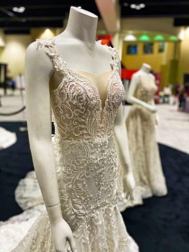 Modern naked lace bridal gown by Diamond Bride