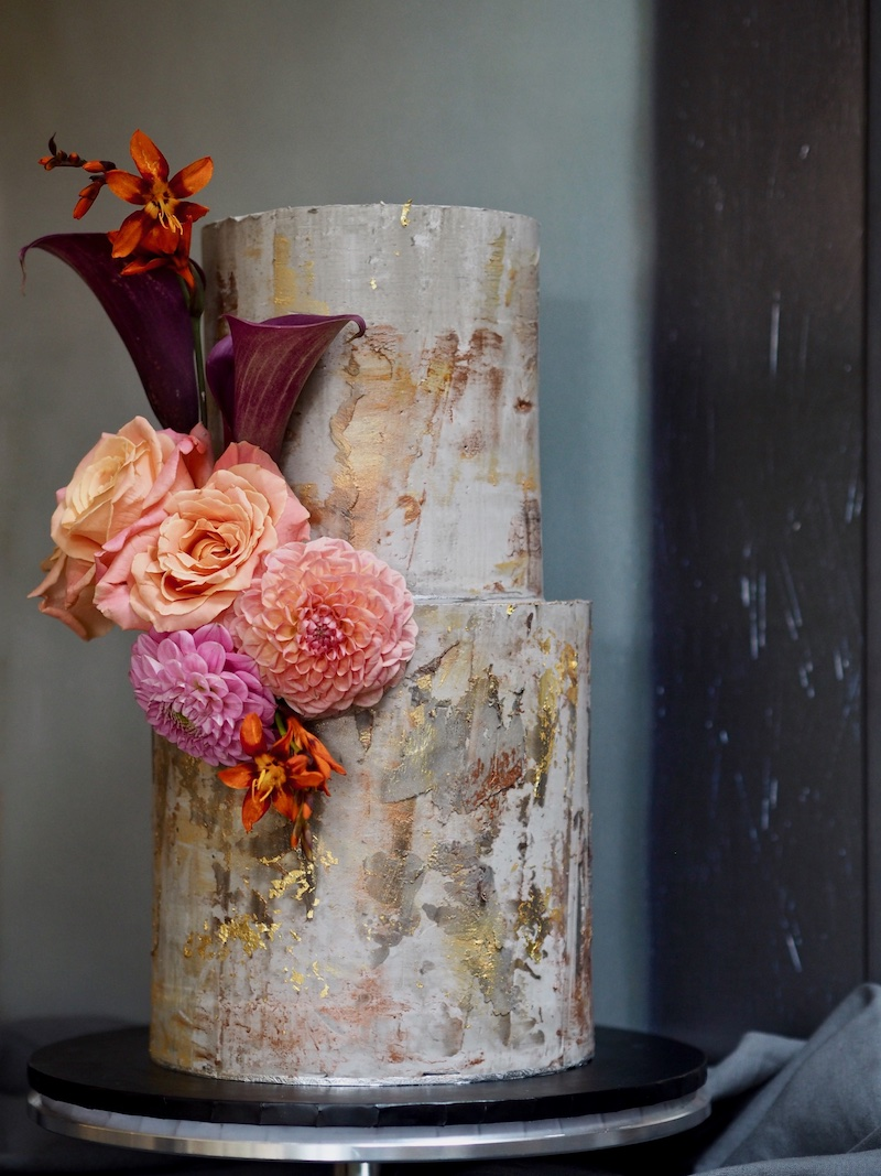Gold and burgandy fall color combos cake by Alice & Rose