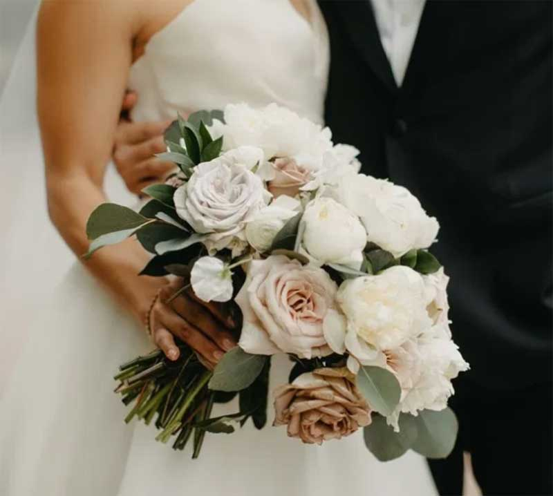 Soft toned fall wedding bouquet by Sadie's Floral