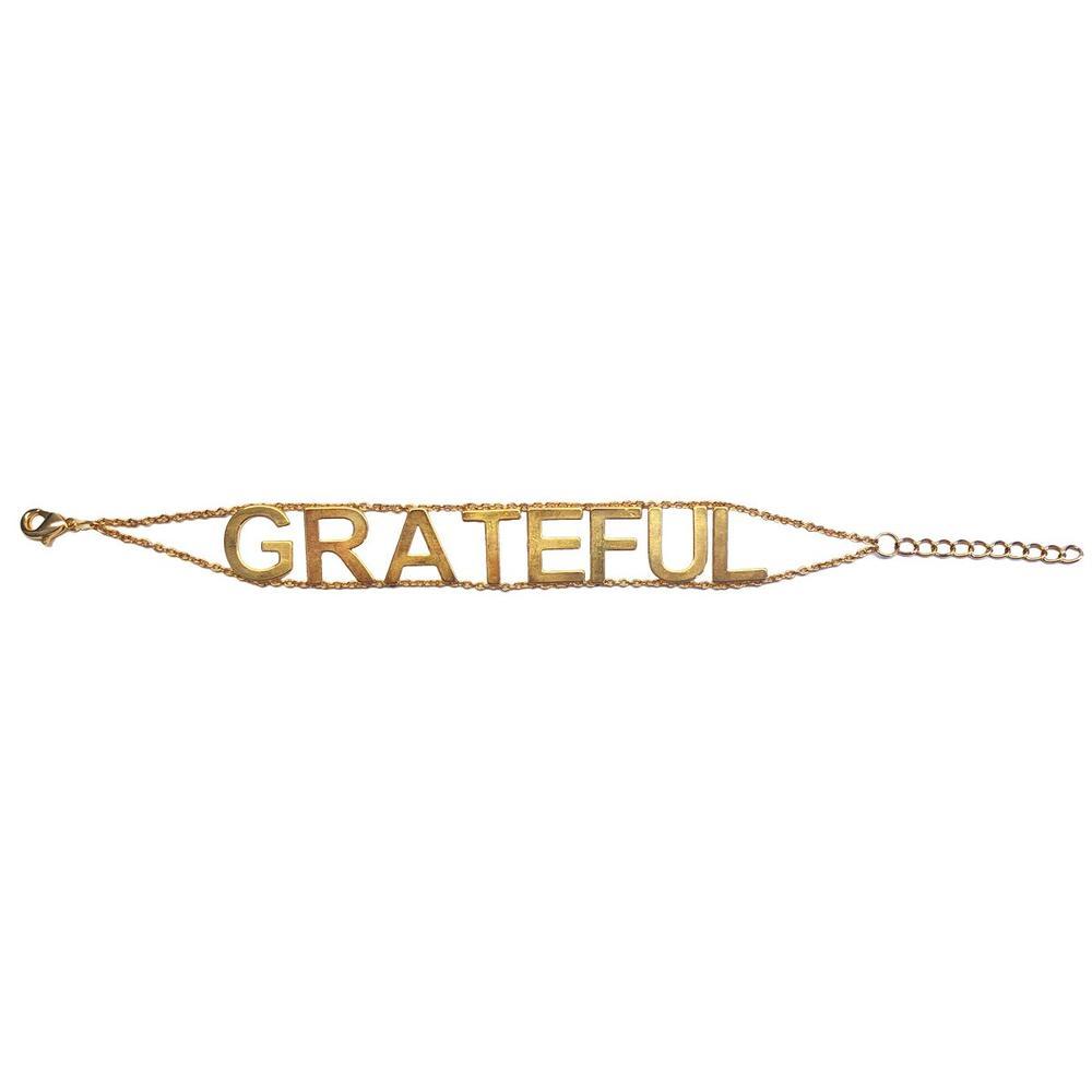 "Gold necklace stating ""Grateful"" by Jennifer Miller Jewelry"