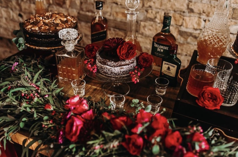 Grooms table with liquor