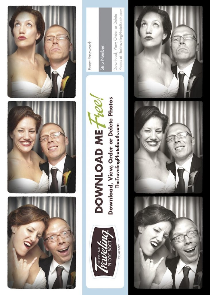 Photo strip of bride and groom at wedding by The Traveling Photo Booth