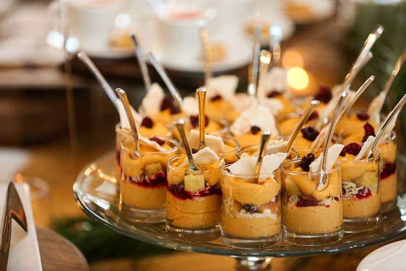 Mini parfaits at harvest style catering wedding
