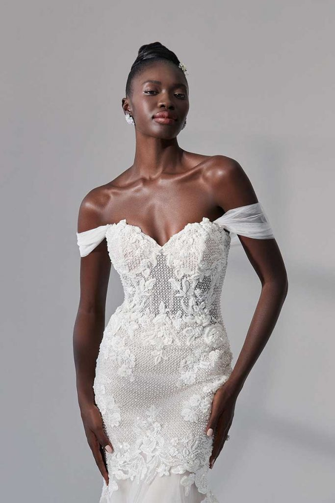 Beaded lace bodice off the shoulder bridal gown 2021 bridal fashion trends