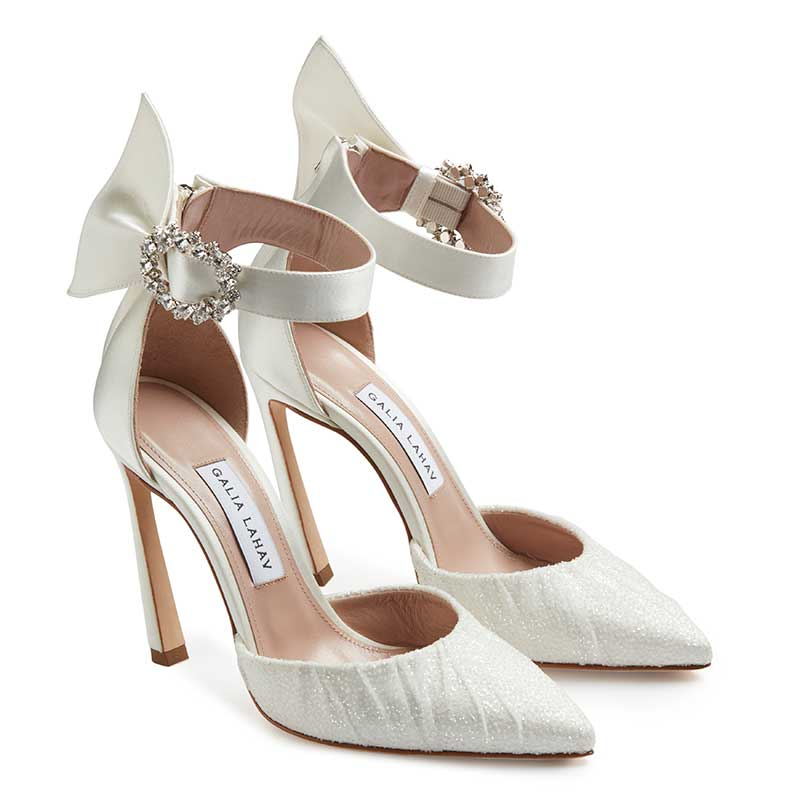 Bridal heels with glitter tulle and ankle strap