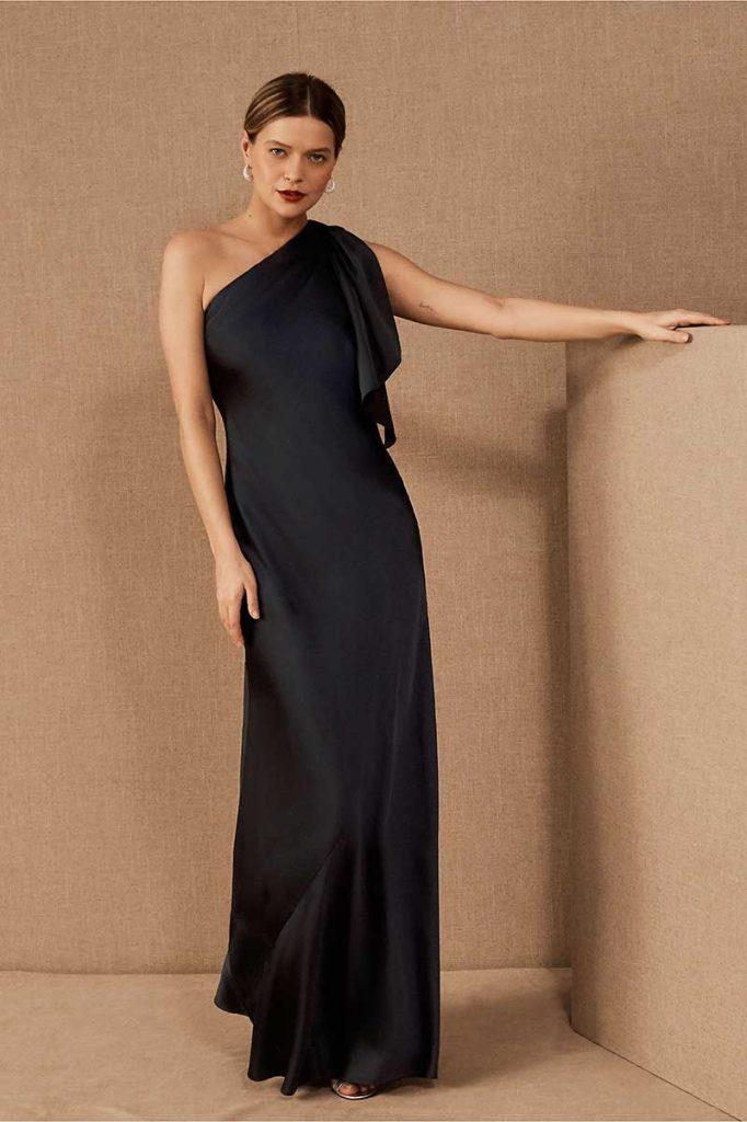 One shoulder dark bridesmaid dress by BHLDN