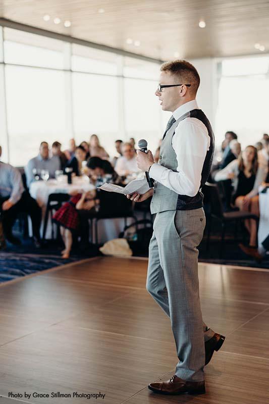 Best man gives speech at Intercontinental MSP Airport Hotel