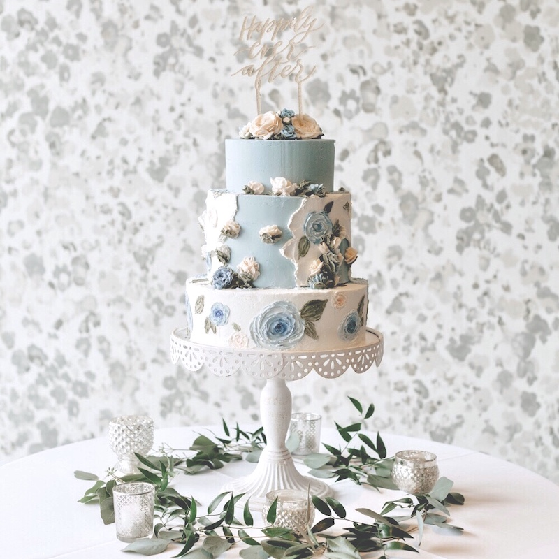Blue and white buttercream wedding cake by Sweet Lulu's