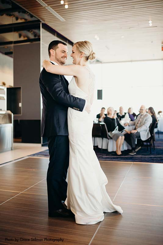 Bride and groom share first dance at hotel wedding Intercontinental Airport MSP