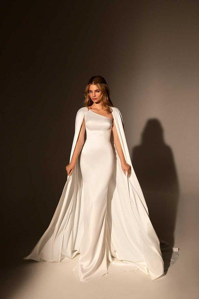 Logn sleek ivory bridal cape