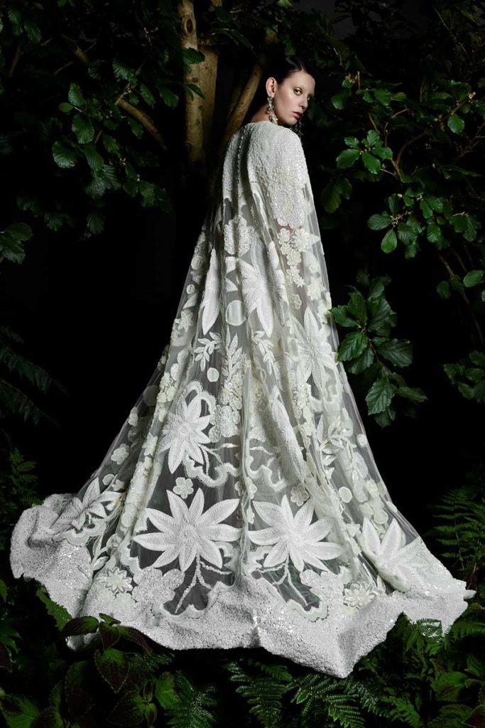 Dramatic floral bridal cape