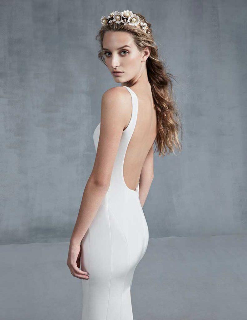 Open back minimalist wedding dress