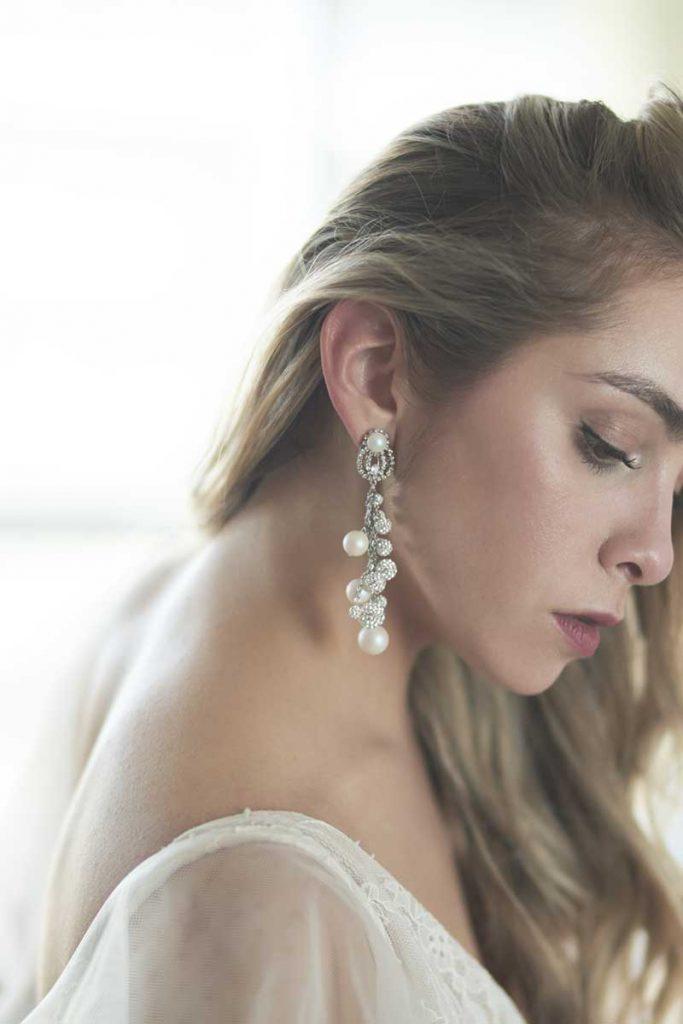 Pearl and diamond bridal chandelier earrings
