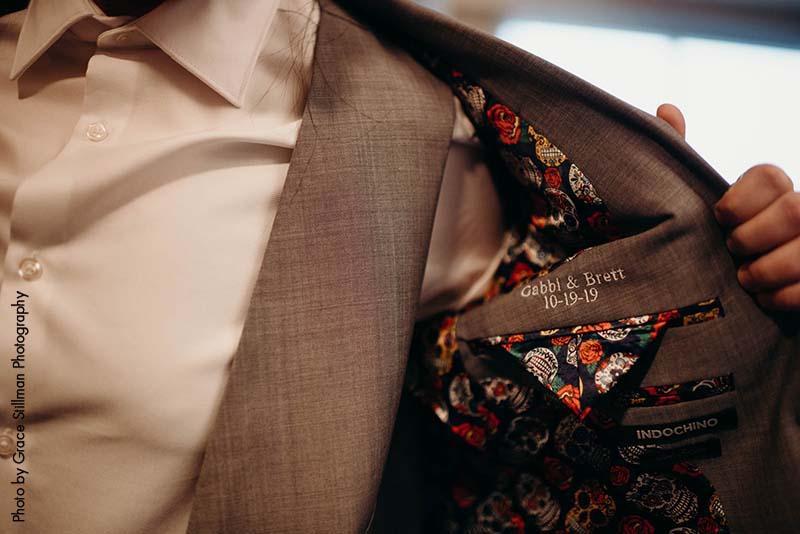 Custom embroidered coat pocket for wedding suit