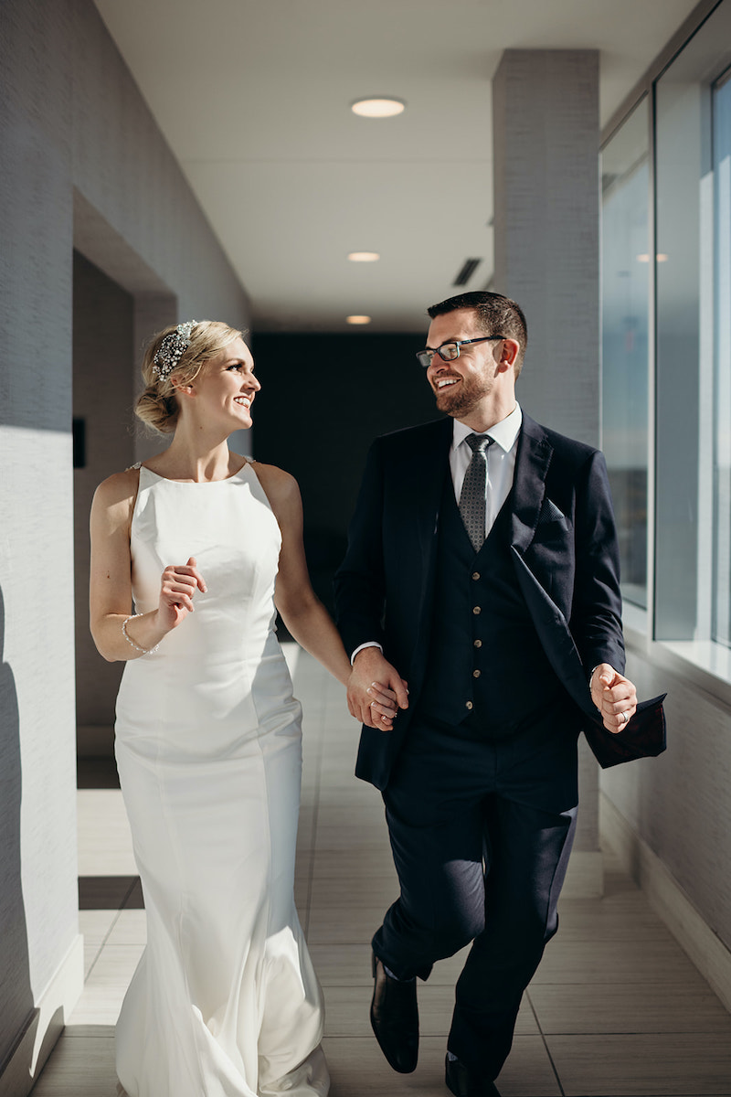 Bride and groom celebrate luxury hotel wedding at Intercontinental Hotel MSP