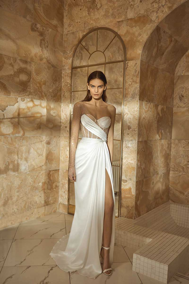 One shoulder see through bodice bridal gown