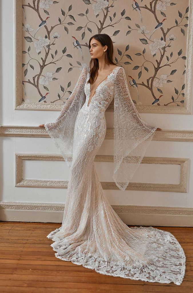 Low cut wide sleeve bridal gown