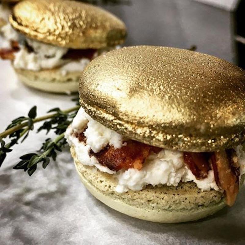 Gilded savory macaron for wedding appetizer