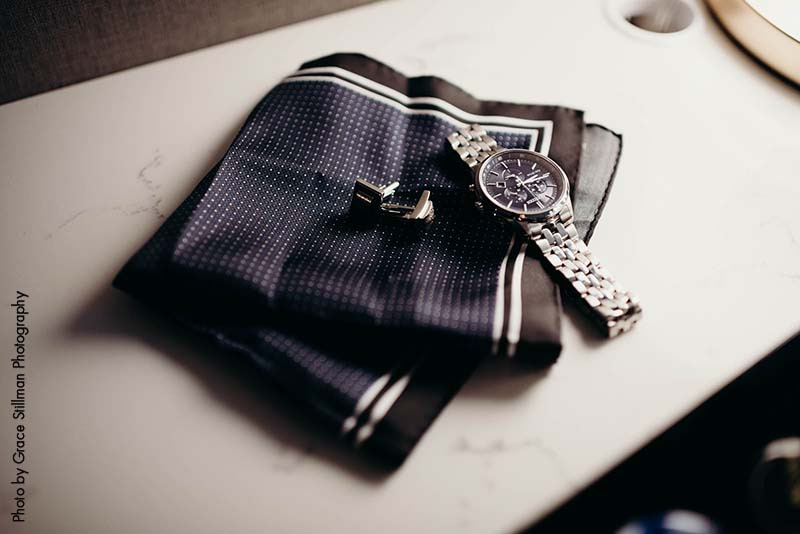 Grooms pocket square and watch